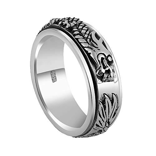 Epinki 925 Silber Herren Ringe Drachen Bandringe Allergiefrei Herrenringe Silber Gr.67 (21.3)