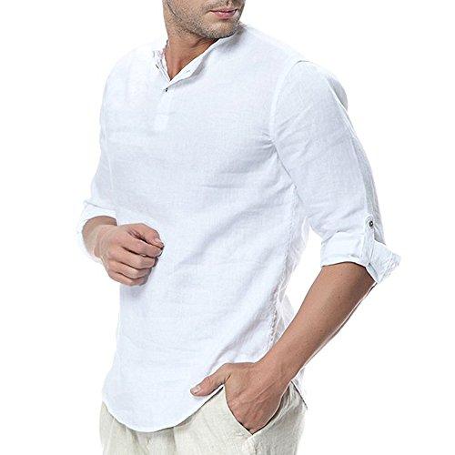 Pxmoda Herren  Henley Leinenhemd Roll-up Sleeve & Kurzarm Freizeithemd Casual Sommer Men Shirts,  A - Weiss, XL (Herstellergrösse: 1L)
