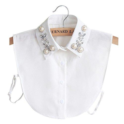 BeToper Detachable Shirt Collar Vintage Elegant Girls's Women's Fake False Faux Collar Cuff Chiffon Choker Half Shirt Blouse Detachable Necklace (White)