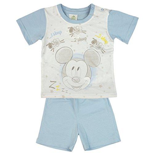 Jungen Baby-Set 2-teilig von Mickey Mouse in GRÖSSE 80, 86, 92, 98, 104, 110 weiß und blau, T-Shirt mit Motiv-Applikation und Kurze Hose, perfektes Freizeit- oder Strand-Outfit Size 110