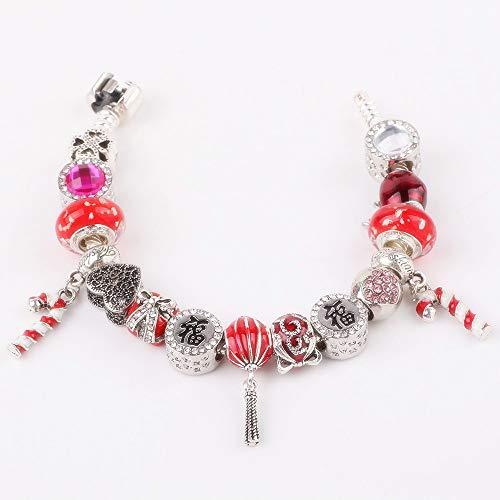 rt-Zuckerstange-Heißluft-Ballon-Anhänger-rotes Apfelkorn-Geschenk DIY gepaßter Frauen-Armband-Charme 19cm ()