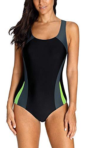 Anwell Damen einteilig Schwimmanzug Wettbewerb Rennen Sport Badeanzug Grau L