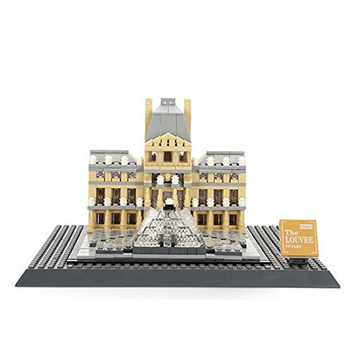YxFlower 821 Stück Custom Bausteine Modell Architektur Spielzeug,DIY Puzzle Bausatz Modell Baukasten Kompatibel mit großen Marken Militär Baustein - Louvre Museum