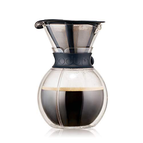 Bodum Pour Over Kaffeebereiter mit permanentfilter, Glas, Schwarz, 18 x 18 x 24 cm