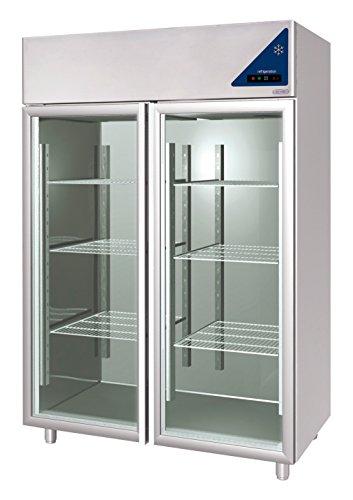 Gastlando - Premium Edelstahl Gewerbe-Kühlschrank - Umluft - 1400 Liter - Glastüren - 2 Kühlzellen - 0° bis +10 °C