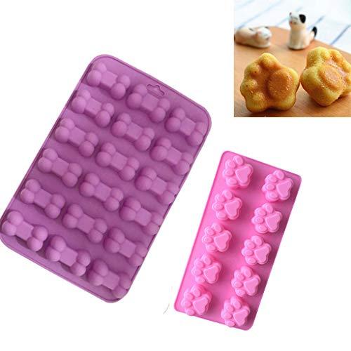 Cwemimifa Eiswürfelform Patronen Eiswürfelbereiter für 3D Eiswürfel Form aus Silikon, 2 STÜCK Silikon Fondantform Kuchen Dekorieren Schokolade Backform Werkzeug, Rosa+Lila (Kuchen Drücken Dekorieren)