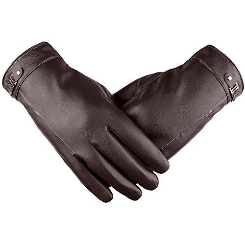 SRANDER Herren Touchscreen lederhandschuhe Outdoor Winter-warme Motorrad Gloves Handschuhe YH102