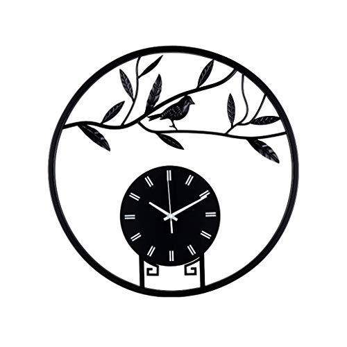 Everyday home Horloge européenne silencieuse en métal d'horloge murale de décoration d'artiste d'oiseau de mur d'horloge de mur, opération de batterie (Couleur : NOIR, taille : 50 * 50cm)