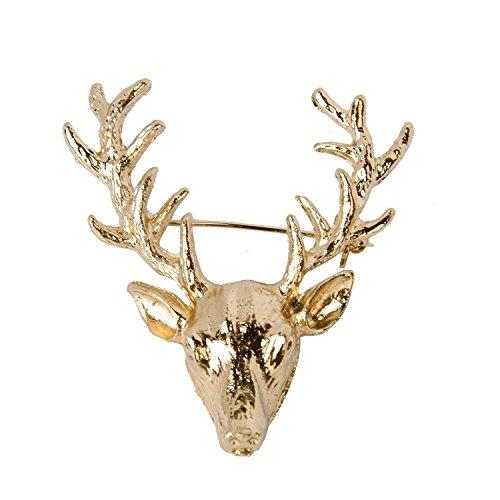TOOGOO(R) 1 x Wunderschoene Weihnachtsgeweih Hirsch Kopf Kragen Brosche Pin Weihnachtsgeschenk Unisex --- Gold Farbe