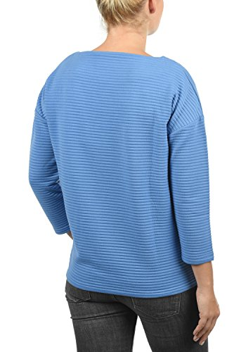 DESIRES Jona Damen Sweatshirt Pullover Sweater mit U-Boot Ausschnitt aus hochwertiger Baumwollmischung Lichen Blu (1805)