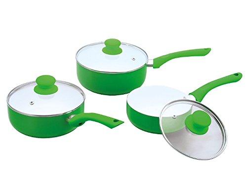Ricco Lot de 3 casseroles avec revêtement en céramique 16 cm, 18 cm et 20 cm en noir, vert, violet ou rouge, Aluminium coulé, Green, 20 x 8.5 cm