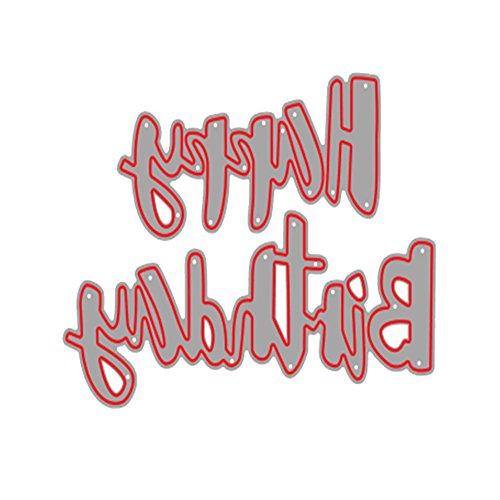 YfqUamarylli Stanzform Happy Birthday Buchstaben-Prägeschablone für Karten Handwerk Dekoration – Silber
