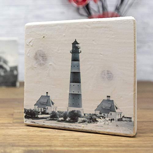 Leuchtturm Westerheversand - elbPLANKE | 10x10 cm | Holzbilder von Fotoart-Hamburg | 100% Handmade aus Holz (Kiefer/Fichte) (Home Interior Rahmen, Dekorationen)