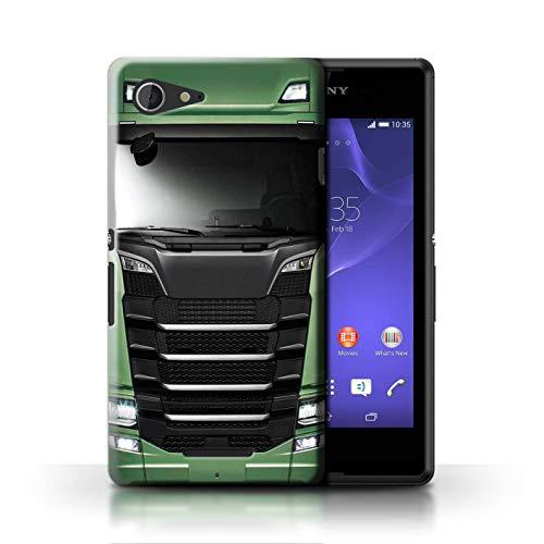 eSwish Hülle/Case für Sony Xperia E3 / Grün Muster/LKW HGV Euro Kabine Vorbei Kollektion (Xperia Sony Grün E3 Case)