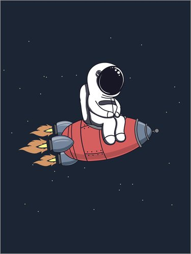 Unbekannt Alu Dibond 60 x 80 cm: Kleiner Astronaut mit Rakete von Kidz Collection/Editors Choice