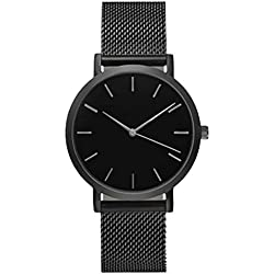 WINWINTOM Women Crystal Stainless Steel Analog Quartz Wrist Watch Black