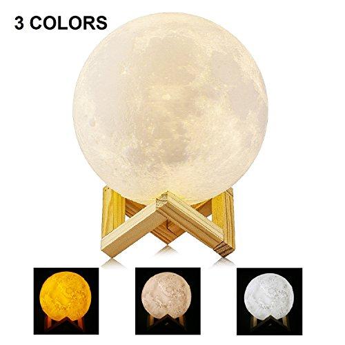 Lámpara de Luna LED Luz de Noche para Niños, MAVIE 5.9inch/15CM 3 Colores USB Cambio de 3D Lámpara de Control de Luz de Luna con Soporte de Madera para Dormitorio, Regalo de Fiesta, Decoración