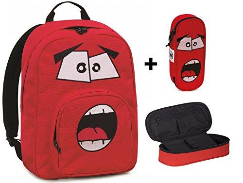 Zaino invicta - ollie face pack plain - + astuccio portapenne lip face - rosso ardente- tasca porta pc padded - scuola e tempo libero americano 25 lt