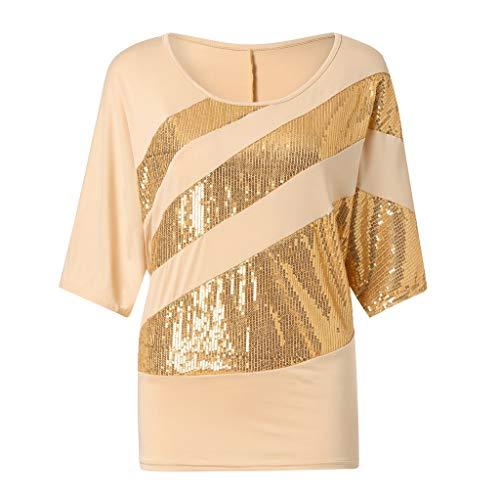 UFACE Damen Rundhals Pailletten Fledermaus Kurzarm T Shirt Frauen Causel Top Kalte Schulter Bluse Plus GrößE (L, Gelb)