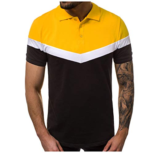 Makefortune  Casual Men's Short Sleeve Polo Shirts Contrasting Colors Golf Tennis T-Shirt Button Down Shirts Slim Fit M-XXXL - Junior-mädchen-golf-schuhe