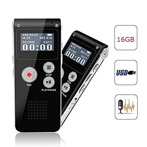 ZUEN 16G Digital Voice Recorder Mit Wiedergabefunktion Wiederaufladbarer Diktierkassettenrekorder Für Vorträge Meetings Interviews MP3 Player (Hörgerät Leistungsstarke)