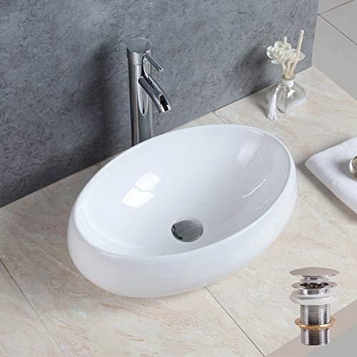 Basong Vasque à Poser En Céramique Moderne Lavabo Lave-Mains Salle de Bain WC Ovale Blanc