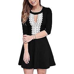 SunIfSnow Damen Dekolletiertes Kleid, Einfarbig Gr. L, schwarz