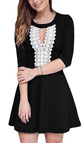 SunIfSnow donna elegante pizzo all' uncinetto Keyhole elegante Little Nero Mezza Manica Skater Dress Black Large - Off L'uncinetto
