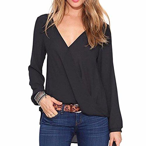 QIYUN.Z Shirt Sexy Femmes Manches Longues Col V Profond Mousseline Couleur Unie Blouse Tops Noir