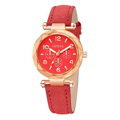 Ausverkauf  Damen Quarz Analog Uhr, Frauen Damenuhr Armbanduhr Analog Quarz mit Lederband Mädchen Geschenk LEEDY