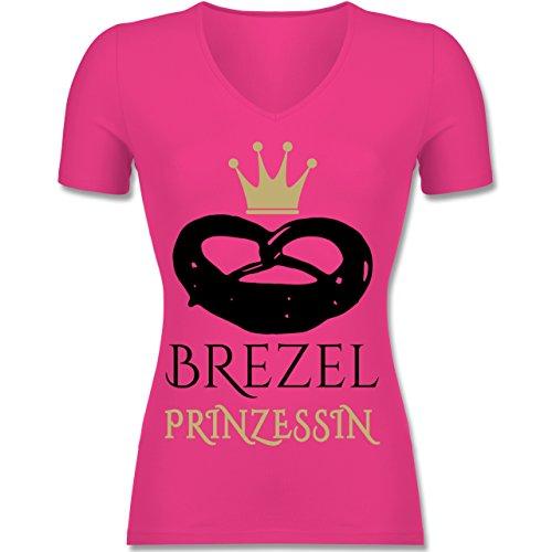 Shirtracer Oktoberfest Damen - Brezel Prinzessin - Tailliertes T-Shirt mit V-Ausschnitt für Frauen Fuchsia