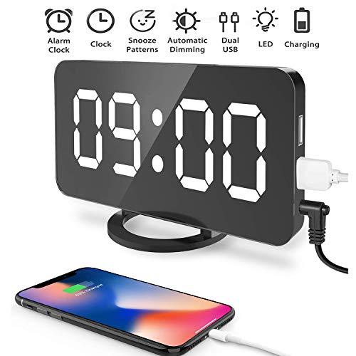Souleader Despertadores Digitales LED Despertador Electrónico, Espejo Reloj Digital Moderno con Función...