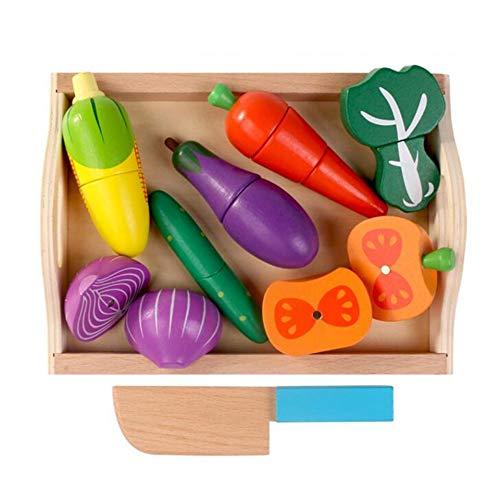Holztablett für Kinder Magnetisches Obst und Gemüse, zugeschnitten, um geschnittenes Spielzeug für zu Hause zu sehen - Obst-bond