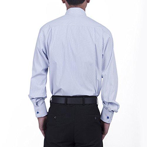 Janeo British Apparel di marca, Classic Hampton uomo controlli uomo camicia, singolo e doppio polsino manica–Janeo mens Shirts Blue (Double Cuff)