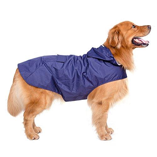 Hunde Regenmantel Regenjacke Wasserdicht Atmungsaktiv Hundemantel Hundejacke für Große und Mittlere Hunde Faltbare mit Kapuze und Reflektierende Streifen (4XL, Blau)