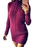 ORANDESIGNE Damen Elegant Pulloverkleid Strickkleid Herbst Winter Langarm Strickpullover Minikleid Cocktailkleider Sweater Slim Fit Violett DE 44