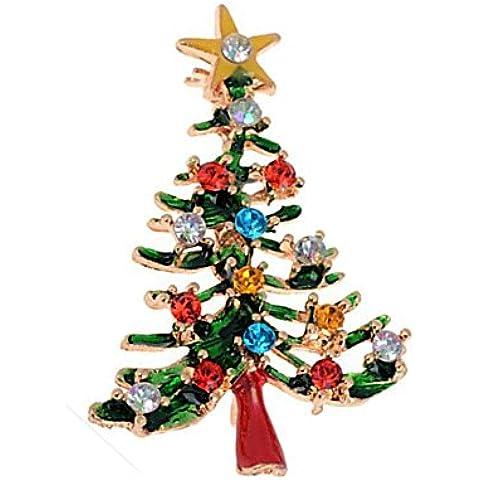 DAYAN Navidad Moda Aleación Rhinestone Colorido Árbol Pin Collar Broche
