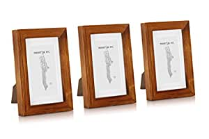 Classic by Casa Chic Solid Wood 4x6 inch Photo Frames Rustic Brown 10x15 Centimetres Pack of 3 Picture Frames with Mount Glass Front Frame Width 2 Centimetres