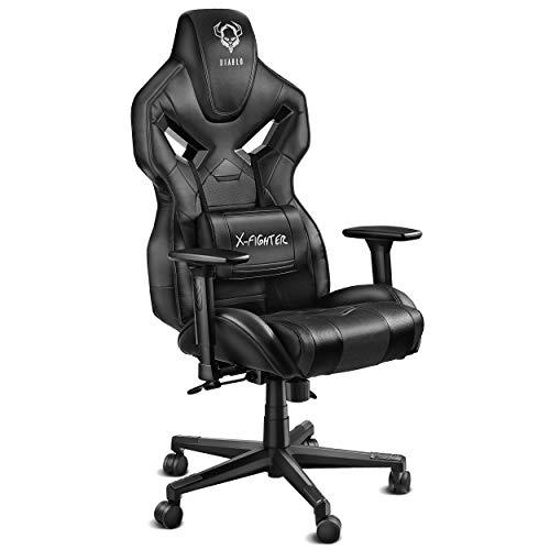 Diablo X-Fighter Gaming Stuhl Bürostuhl Verstellbare Armlehnen 3D Lendenkissen Wippfunktion Kunstlederbezug Perforiert Farbwahl (schwarz/schwarz)