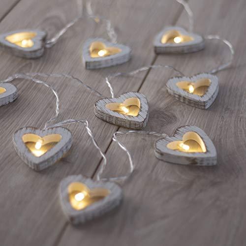 DecoKing 47057 10er LED Lichterkette auf silbernem Draht Herzen warmes Weiß statisch batteriebetrieben LED Girlande Gartendeko Wooden Heart
