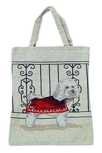 Bowatex Sac cabas sac pochette en tissu Shopper Bag poche de bistro Tapisserie royaltex Signare chien à Veste Rouge FA