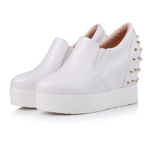 VogueZone009 Femme Pu Cuir Rond à Talon Haut Tire Couleur Unie Chaussures Légeres Blanc