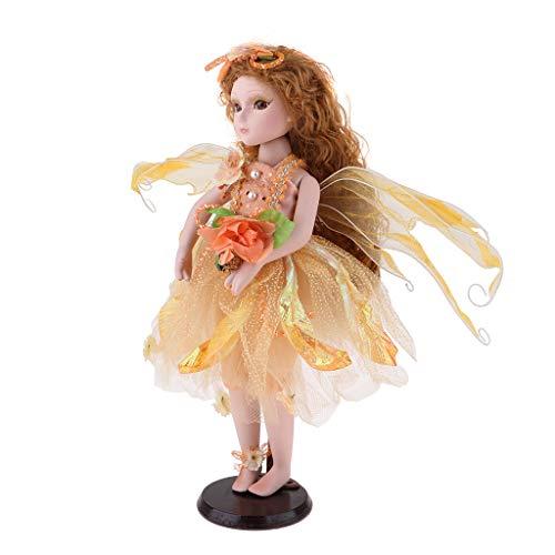 Fenteer 16 Zoll Schöne Deko Puppe Engel Prinzessin Figur Porzellanpuppe mit Kleidung Tischdekoration - Gelb (16 Kleidung Puppe In)