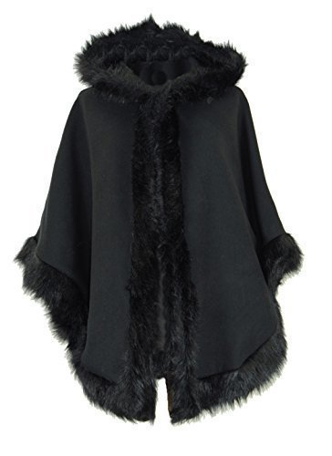 Ladies Womens Italian Lagenlook Quirky Layering Hooded Faux Fur Trim Wool Lana Cape Poncho Coat Jacket One Size Plus (One Size Plus, Black) (Hooded Cover Up)