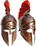 Purplepatch Leonidas Griego Spartan 300 latón antiguo casco de armadura medieval con ciruela roja