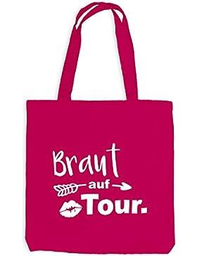 Jutebeutel - JGA Braut auf Tour Lips Pfeil - Junggesellenabschied