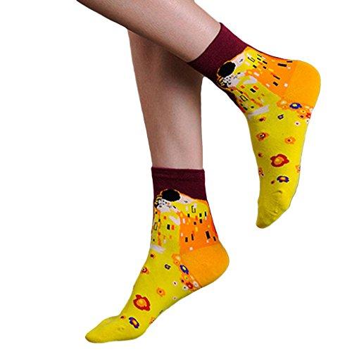 Frauen Auffällige Gelbe Kurze Socken Van Gogh Retro Abstrakte Ölgemälde Rohr Socken