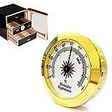Schimer Zigarren-Hygrometer - Präzisions-Zeiger-Hygrometer aus rundem Glas für Metall-Zigarrenschachteln/Zigarrenschränke