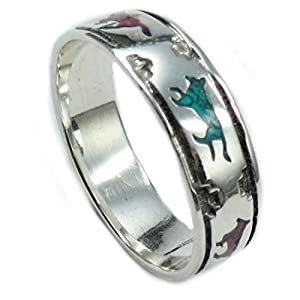 The Route 66 Shop Ring Sterling Silber Chip Inlay Türkis Koralle Navajo Indianerschmuck Wolf Wölfe