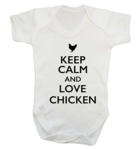Keep Calm and Love Huhn Baby Weste Body Strampler Gr. XS , weiß (Huhn Protein)